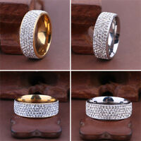 Sz8-12 Unisex CZ Stainless Steel Ring Men/Women's Wedding Band Rings Gold Silver