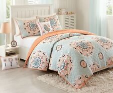 HANA FLOWERS Full Queen QUILT SET : GIRLS BLUE GREEN PEACH BIRDS MEDALLION COVER