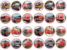 24 fire engine fireman red truck  bun fairy cupcake toppers  party edible paper
