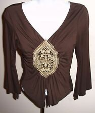 SHARAGANO BROWN CREAM LACE ORNAMENT TOP BLOUSE S-M FRANCE MUST TO HAVE!!!