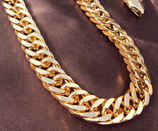 MENS HEAVY YELLOW GOLD GF CUBAN LINK CHAIN NECKLACE 24IN