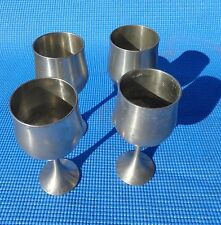 Pewter Wine Goblets SET OF 4 Selangor Pewter Classic Smooth Satin Finish 6 inch