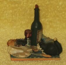 """RarePeter Fagan  Cat Hand Painted Scotland """" The Epicure """" Cheese & Wine 1986"""