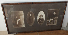 """1920s - 1940s Four Photos of a Boy Framed in Laminate Wood Frame 20.5"""" x 10.75"""""""