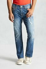 NWT TRUE RELIGION JEANS $242 MENS DISTRESSED STRAIGHT FLAP IN NO DISCIPLINE 36