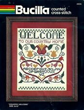 "Country Welcome Sampler Bucilla Counted Cross Stitch Kit  49955 8"" x 10"" VTG"