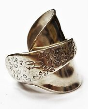 Solid 925 sterling silver hallmarked antique 1911 spoon ring SIZE N O P Q R S T