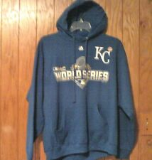 NEW W/TAG MLB MAJESTIC LARGE KC ROYALS 2015 WORLD SERIES HOODIE SWEATSHIRT BLUE