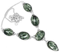 Seraphinite 925 Sterling Silver Necklace Jewelry SRPN7