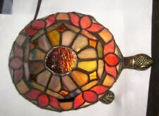Tiffany stained glass style multi colored turtle shell Quoixel electric lamp