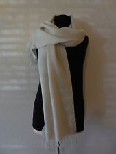 New Yves Saint Laurent 100% Wool Long Scarf Auth YSL Logo Made in Italy (Ivory)