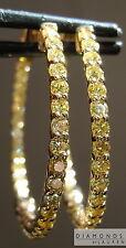 2.07ctw Fancy Intense Yellow Diamond Hoop Earrings R7329 Diamonds by Lauren