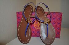 NIB $195 Tory Burch MELINDA Gold Logo BLUE COBALT Patent Leather Flat Sandal S 8