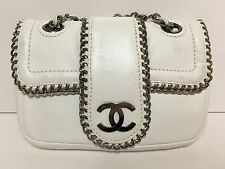CHANEL Classic Lambskin Leather Chain Shoulder Bag Handbag White 100% Authentic