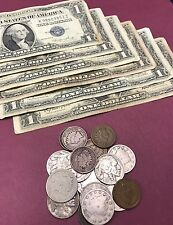 Coin & Currency Collection Penny, Nickels, 90% SILVER Dime & $1 1935 Blue Seal