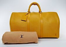 RARE Louis Vuitton Yellow Epi Leather Keepall 50 Duffle Suitcase Travel Bag 2297