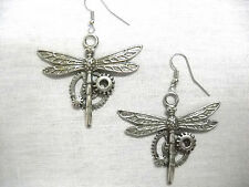 NEW STEAMPUNK DRAGONFLY / DRAGONFLIES HAND CAST DANGLING PEWTER PENDANT EARRINGS