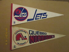 WHA Quebec Nordiques & Winnipeg Jets Vintage Defunct Lot of 2 Hockey Pennants