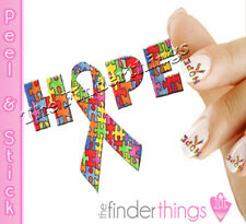 Autism Awareness Ribbon Hope Nail Art Decal Sticker Set AUT146