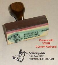 Cowboy Riding Rubber Stamp With Your Custom Address