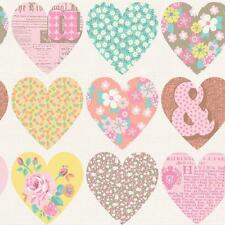 ARTHOUSE PATCHWORK HEART FLORAL PATTERN TYPOGRAPHY FLOWER WALLPAPER PASTEL