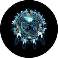 Dream catcher with wolf Spare Tire Cover Jeep RV Camper & More(all sizes avail)