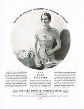 1934 BIG Vintage Farmers Deposit National Bank - Food Grocery Lady Art Print Ad