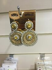 New Bollywood Costume Jewellery Earrings Gold White