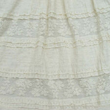 1 y Elegant Cotton Lace Material Beige Floral Embroidery Guipure Stretch Fabric