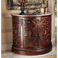 AE14 - Julien Crescent Console - Hand Carved, Marble Top - New!