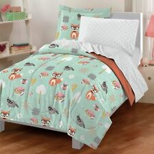 Bedding Sets Twin For Girls Mint Green Woodland Owl Friends Comforter 5 Pieces