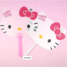 Sanrio Hello Kitty Cute Face Plastic Portable Hand Fan White Pink Summer Gift
