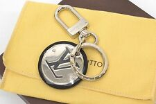Authentic Louis Vuitton Porte Cles Cut Circle Key Ring Charm LV Logo Silver Bag