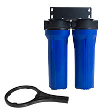 "Two Stage Filtration System Blue 2.5in x 10in 3/4"" NPT  Water Filter Whole House"