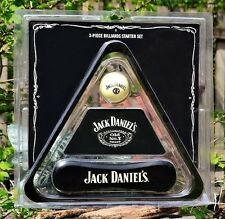 Jack Daniels 3 Piece Billiards Starter Set - Triangle, Cue Ball & Brush - Pool