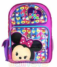 "Disney Tsum Tsum Minnie Mouse 16"" School Backpack Large Book Bag"