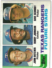 1982 Topps John Butcher, Bobby Johnson, David Schmidt Rangers #418 Baseball Card