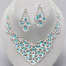 AQUA   /CLEAR  CRYSTAL/RHINESTONE  PROM AND BRIDAL  NECKLACE & EARRING SET a  10