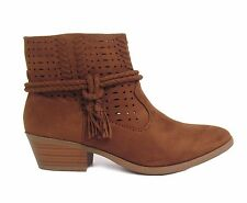 New Women's Suede Laser Cut Out Braided Fringe Low Chunky Stack Heel Booties