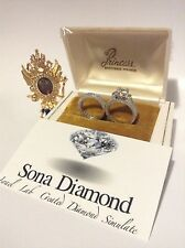 FOR A PRINCESS 1.5cts SONA DIAMOND RING, ISRAEL VVS1 D, DOUBLE SET, WHITE GOLD S