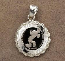 1/20 .999 Silver Disney Mickey Mouse Coin (14mm) in S/S Rope Bezel