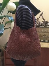Rare Falorni Le Borse Brown Woven Intrecciato Hobo Bag F874 Italy Leather