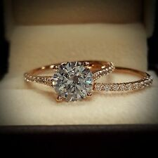 1.50ct Natural Round Dainty Pave Diamond Engagement Bridal Set - GIA Certified