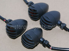 4X Black Red Universal Grill Panel Cover Turn Signal Blinker Light Harley Bobber