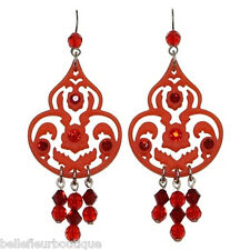 "Tarina Tarantino Iconic ""Palace"" Chandelier Earrings Red 3-1/2"" Long Made in USA"