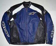 Alpinestars TZ-1 Blue/Black/White Armored Leather Sport Motorcycle Jacket 44-54