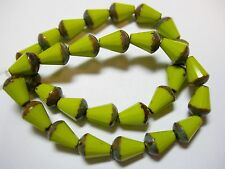 15 Czech Glass Avocado Green Picasso Faceted Teardrop Beads 8x5mm