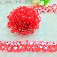 New 5 yards 2-Layer 30mm Red Organza Lace Gathered Pleated Sequined Trim G#22