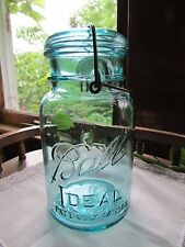 Vintage Ball Ideal Pat D July 14 1908 Blue Green Mason Quart Jar #7