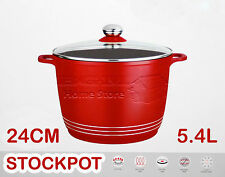 24CM DIE CAST NON STICK DEEP INDUCTION STOCK STEW POT CASSEROLE GLASS LID RED
